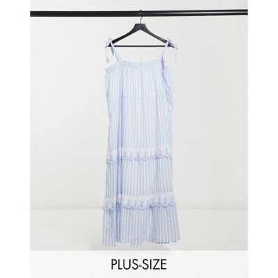 コットンオン ドレス 大きいサイズ レディース Cotton:On Curve tie strap ruffle dress in blue stripe エイソス ASOS ブルー 青