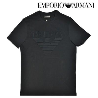 EMPORIO ARMANI エンポリオアルマーニ ブラック 黒 Tシャツ メンズ 男性用 クルーネック 半袖シャツ イーグル柄シャツ ロゴプリント Lサイズ