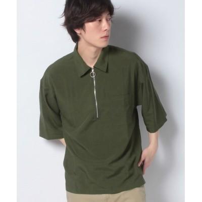 【ウィゴー】 WEGO/ハーフジップ5分袖シャツ メンズ カーキ M WEGO