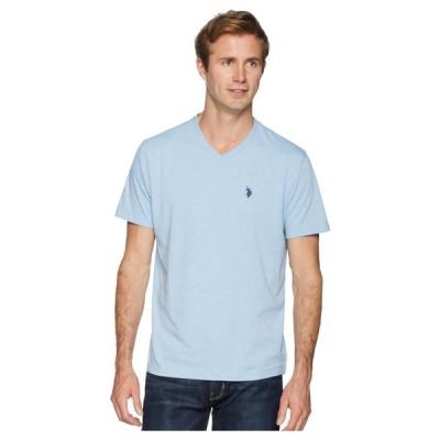 ユーエスポロアッスン U.S. POLO ASSN. メンズ Tシャツ Vネック トップス Short Sleeve Solid V-Neck T-Shirt Sea Blue Heather