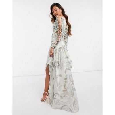 エイソス レディース ワンピース トップス ASOS DESIGN ruched chiffon printed maxi dress with satin lace up detail Gray blurred print