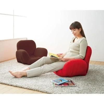 すっぽり収まる肘付きリクライニング座椅子 レッド