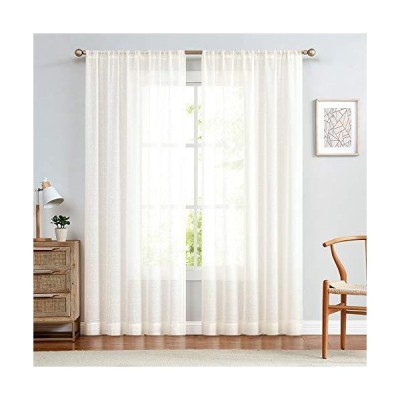 Ivory Sheer Curtains for Living Room Linen Textured 95 inch Rod Pocket Voile Drapes for Bedroom Kitchen Window Curtain Set 2 Panels[平行