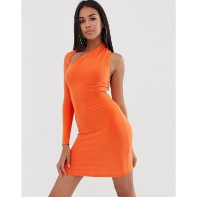 クラブエル ロンドン Club L London レディース ボディコンドレス ワンピース・ドレス one sleeve bodycon dress in orange Orange