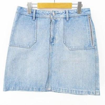 【中古】アーペーセー A.P.C. デニム 膝丈 台形スカート S ブルー系 綿 コットン  レディース