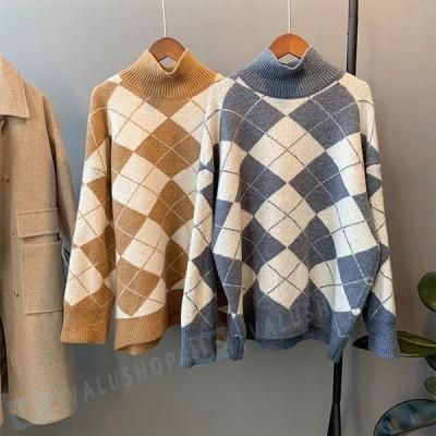 ハイネック プルオーバーセーター チェック柄 長袖 セーター 秋冬物 着やせ 上質感 簡単に シンプル 伸縮性 レディース ニット ゆったり トップス