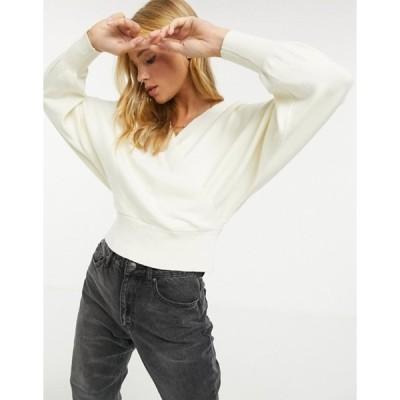 ワイエーエス レディース ニット・セーター アウター Y.A.S wrap sweater with batwing sleeve in cream