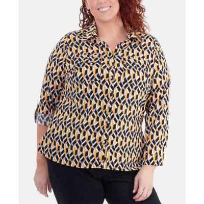 ニューヨークコレクション カットソー トップス レディース Plus Size Printed Utility Shirt Gold Cubic