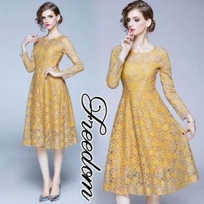 大きいサイズ ドレス 結婚式 お呼ばれ 発表会 謝恩会 華やか花柄レースドレスワンピース S M L 2L 3L サイズ セール