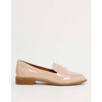 エイソス ASOS DESIGN レディース ローファー・オックスフォード シューズ・靴 Mail Loafer Flat Shoes In Beige Patent