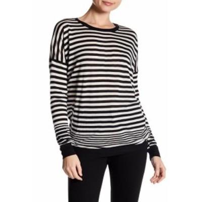 Vince ヴィンス ファッション トップス Vince NEW Black White Womens Size Large L Striped Dolman Knit Top