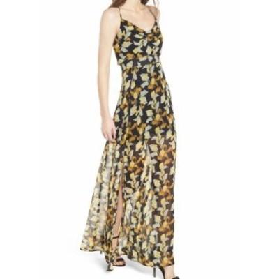4SI3NNA フォーシースリーエンエンエイ? ファッション ドレス 4Si3nna NEW Black Leaf Floral Print Womens Size XL Chiffon Maxi Dress