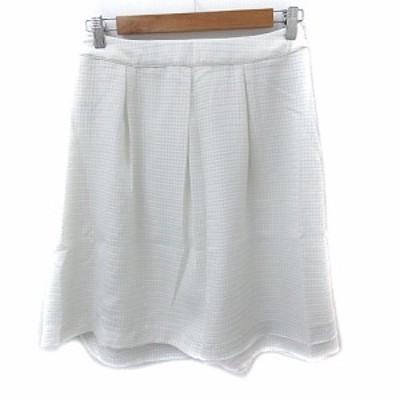 【中古】エニィスィス エニシス anySiS スカート フレア ひざ丈 チェック柄 4 白 ホワイト /NS10 レディース