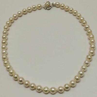 アコヤ本真珠ネックレス P3080n 8.0〜8.5mm<br>大玉 パールネックレス 真珠 冠婚葬祭 成人の日 お祝い メール便送料無料