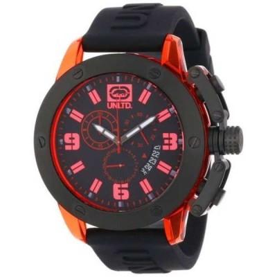 腕時計 マークエコー Marc Ecko メンズ UNLTD The Tran クロノグラフ レッド Transparent ケース ブラック 腕時計 NEW