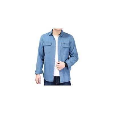 デニムシャツ メンズ 長袖シャツ デニム トップス 綿 カジュアル 細身 着痩せ 無地 秋 新作