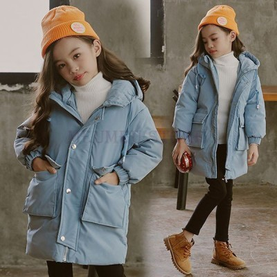 中綿コートキッズ子供服女の子冬服子供コートアウター厚手ダウン風コートキッズコートロングコート中綿ジャケットフード付きおしやれ暖かい防寒