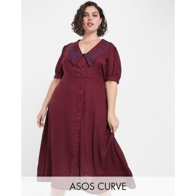 エイソス レディース ワンピース トップス ASOS DESIGN Curve button through midi tea dress with embroidered peter pan collar in rust