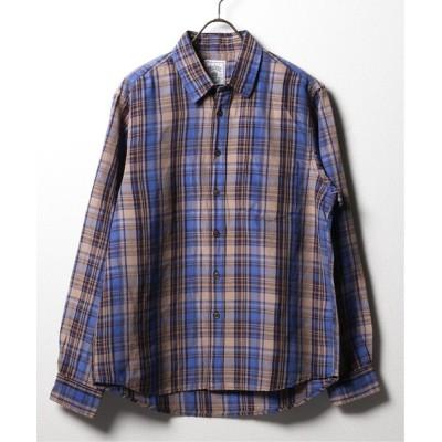 シャツ ブラウス BELGIAN LINEN BLEND レギュラーチェックシャツ