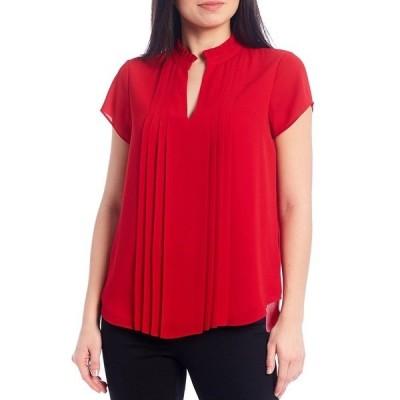カルバンクライン レディース シャツ トップス Split Ruffle Neck Pleat Front Short Sleeve Top Red