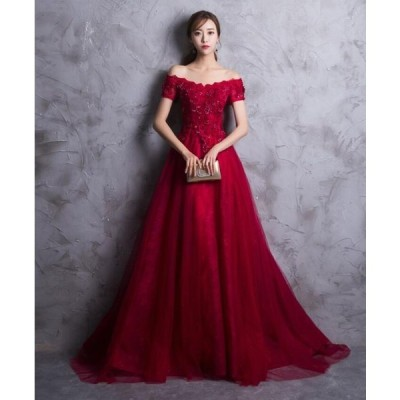 【カラードレス】ロングドレス/ウェディングドレス/パーティードレス/オフショルダー/編み上げタイプ【XS−XXL】hslf227