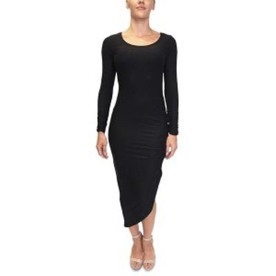 オールモストフェイマス レディース ワンピース トップス Juniors' Asymmetrical Bodycon Dress Black