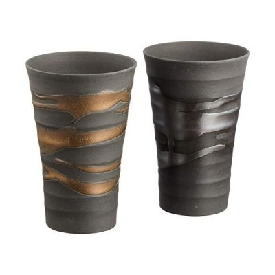 エールネット(Ale-net) 金昇窯 金銀流し ほろ酔いカップ ペア 木箱入り 美濃焼