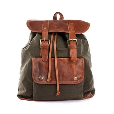 LECONI Rucksack Vintage-Style Leisure Backpack Retro-Look Canvas + Leather for Women + Men Bag Fashion Daypack 36x40x11cm green LE1010-C 並行輸入