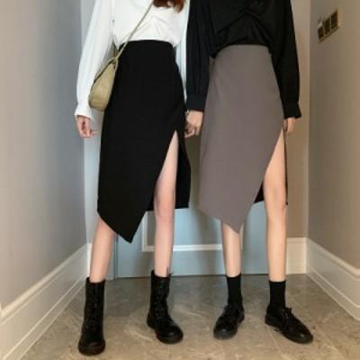 2020AW レディース スカート ミモレ丈 スリット 無地 3色 オルチャン 韓国ファッション プチプラ TA09045