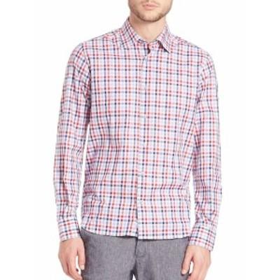 サックスフィフスアベニュー メンズ カジュアル ボタンダウンシャツ Button-Front Checked Shirt