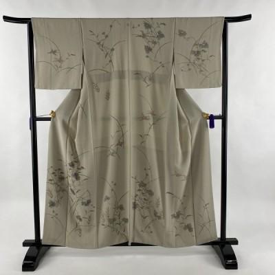 訪問着 秀品 一つ紋 草花 灰茶 袷 身丈161cm 裄丈63.5cm S 正絹 中古