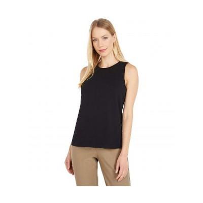 Eileen Fisher アイリーンフィッシャー レディース 女性用 ファッション トップス シャツ Organic Cotton Stretch Jersey Crew Neck Slim Tank - Black