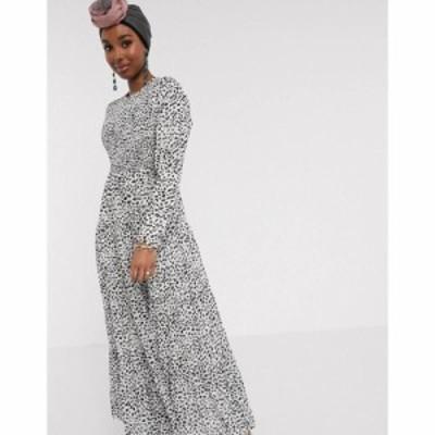 エイソス ASOS DESIGN レディース ワンピース ティアードドレス ワンピース・ドレス shirred tiered maxi dress in mono spot print ホワ