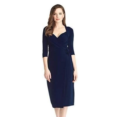 ドレス 海外バイヤーセレクト GRAPENT Women's 3/4 Sleeve Formal Ruched Sweetheart Midi Wrap Dress # 4