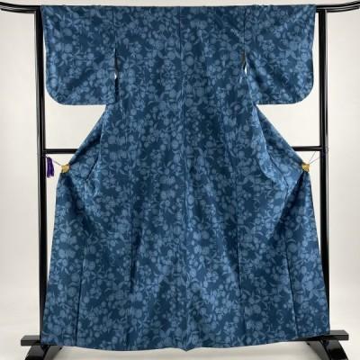 紬 秀品 草花 藍色 袷 161cm 62cm S 正絹 中古