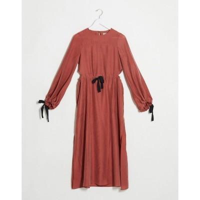 エイソス ミディドレス レディース ASOS DESIGN premium casual drawstring waist midi dress with herringbone ties in terracotta エイソス ASOS