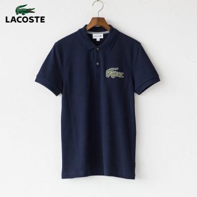 ラコステ マルチワニ ロゴパッチ ポロシャツ PH8571L 166.ネイビー
