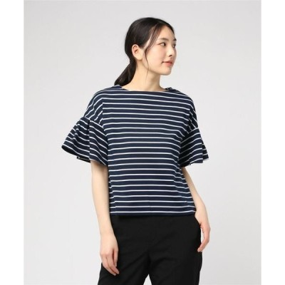 tシャツ Tシャツ ボーダーポンチフレアスリーブビッグシルエットカットソートップス