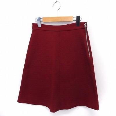 【中古】未使用品 ザラウーマン ZARA WOMAN タグ付き スカート 台形 ひざ丈 ジップ XS レッド 赤 /FT24 レディース 【ベクトル 古着】