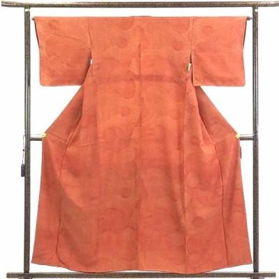 リサイクル着物 小紋 正絹茶オレンジ地袷小紋着物