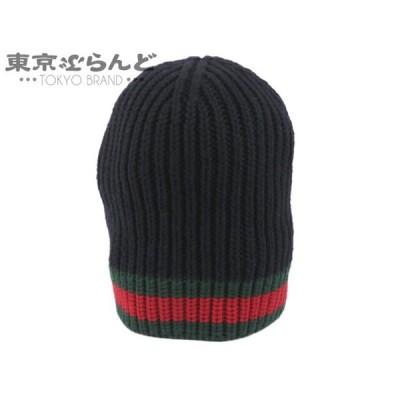 グッチ GUCCI ウェブ ウールハット ニット帽 ニットキャップ M 58 22cm ウール100% ネイビー シェリーライン  101482352