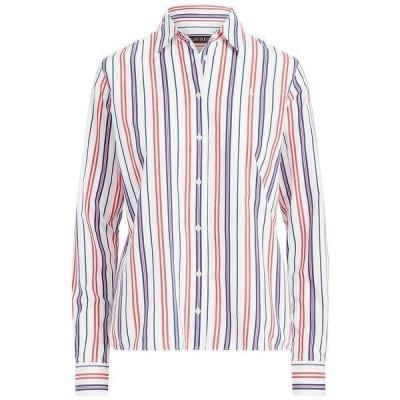 ラルフローレン カットソー トップス レディース Buttoned Striped Top Red/blue/white Multi
