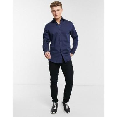 ジャンニ フェロー メンズ シャツ トップス Gianni Feraud printed cuff slim fit shirt in navy