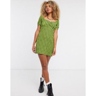 ノイジーメイ ミニドレス レディース Noisy May skater dress with puff sleeves in green check エイソス ASOS グリーン 緑
