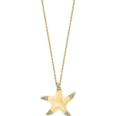 """メイシーズ Macy's レディース ネックレス ジュエリー・アクセサリー Diamond (1/10 ct. t.w.) Starfish Pendant 18"""" Necklace in 14K Yellow Gold Gold"""