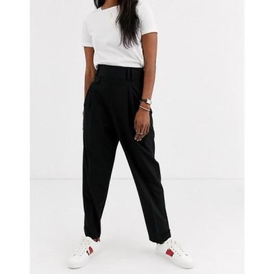 エイソス ASOS DESIGN レディース ボトムス・パンツ tailored smart high waist balloon trousers ブラック