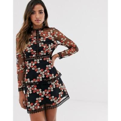 エイソス レディース ワンピース トップス ASOS DESIGN long sleeve tiered mini dress in red embroidered floral mesh