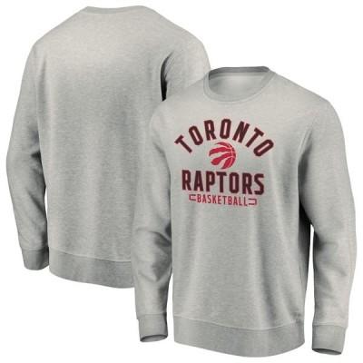 ファナティクス パーカー・スウェットシャツ アウター メンズ Toronto Raptors Fanatics Branded Iconic Team Arc Stack Fleece Sweatshirt Heathered Gray