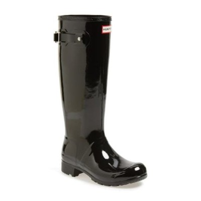 ハンター レディース ブーツ&レインブーツ シューズ Original Tour Gloss Packable Rain Boot BLACK