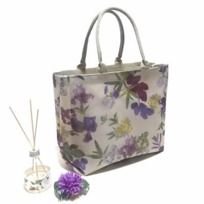 チュール素材 軽量 バッグ トート 大 日本製 〜 ベージュに紫の花 〜水着素材マスクプレゼント